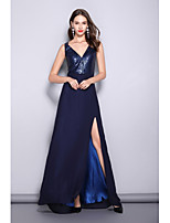 cheap -A-Line Sexy Sparkle Wedding Guest Prom Dress V Neck Sleeveless Floor Length Chiffon with Sequin 2020
