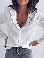 cheap -Women's Shirt Solid Colored Long Sleeve V Neck Tops Basic Basic Top White