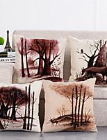 cheap -Set Of 4 Pillow Covers Nordic Style Geometric Linen Cushion Cover Home Decorative Pillow Case 45x45cm Pillow Cases
