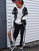 cheap -Women's Streetwear Daily Wide Leg Pants Striped Breathable Black S M L