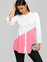 cheap -Women's Blouse Shirt Color Block Long Sleeve Patchwork Round Neck Tops Basic Basic Top Black Blushing Pink Orange