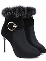 cheap -Women's Boots Stiletto Heel Pointed Toe Casual Basic Daily Solid Colored PU Booties / Ankle Boots Walking Shoes Black