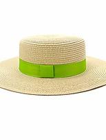 cheap -women boater summer fedoras straw sun hat beach a-ribbon light green