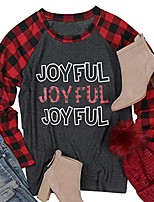 cheap -merry and bright shirt women christmas plaid splicing long sleeve raglan tees christmas baseball t-shirt tops & #40;black, s& #41;