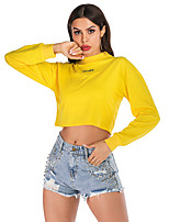 cheap -Women's Daily Pullover Sweatshirt Cropped Sweatshirt Solid Colored Plain Basic Hoodies Sweatshirts  Yellow