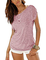 cheap -women summer short sleeve t-shirt round neck top casual basic tee