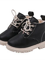 cheap -Boys' Boots Combat Boots PU Lace up Little Kids(4-7ys) Walking Shoes Split Joint Black / Yellow / Ivory Fall / Winter / Booties / Ankle Boots