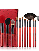 cheap -12pcs Super Quality Goat Hair Makeup Brush Set Soft Synthetic Fiber Cosmetic Kit Lip Concealer Blending Brushes