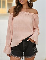 cheap -Women's Going out Blouse Solid Colored Long Sleeve Off Shoulder Tops Basic Sexy Basic Top Black Blushing Pink Khaki