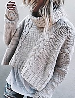 cheap -Women's Basic Knitted Solid Color Plain Pullover Long Sleeve Loose Sweater Cardigans Turtleneck Fall Winter Khaki Beige Gray