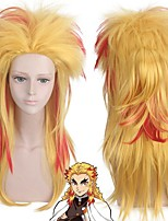 cheap -Cosplay Costume Wig Synthetic Wig Rengoku Kyoujurou Demon Slayer Curly With Ponytail Wig Blonde Long Blonde Synthetic Hair 22 inch Men's Anime Cosplay Creative Blonde