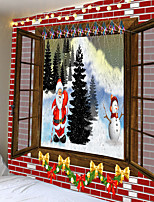 cheap -Christmas Weihnachten Santa Claus Wall Tapestry Art Decor Blanket Curtain Picnic Tablecloth Hanging Home Bedroom Living Room Dorm Decoration Window Snow Snowman Christmas Tree Polyester