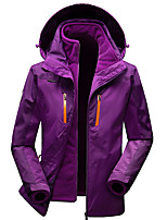 cheap -Women's Hiking Windbreaker Winter Outdoor Patchwork Thermal Warm Windproof Breathable Warm 3-in-1 Jacket Camping / Hiking Hunting Ski / Snowboard Violet / Red / Fuchsia / Blue
