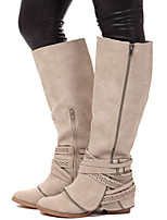 cheap -Women's Boots Block Heel Round Toe Basic Daily Solid Colored PU Mid-Calf Boots Dark Grey / Brown / Beige