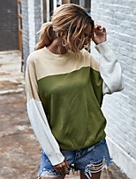 cheap -Women's Sweater Patchwork Crew Neck Color Block Sport Athleisure Top Long Sleeve Warm Soft Oversized Comfortable Everyday Use Exercising General Use