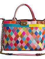cheap -Women's Bags Cowhide Top Handle Bag Zipper for Daily / Date Rainbow