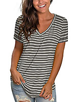 cheap -v neck t shirts women loose fit summer tops short sleeve striped grey xl