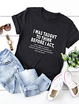 cheap -Women's Blouse Shirt Letter Round Neck Tops 100% Cotton Basic Basic Top Black