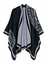 cheap -Women's Cloak / Capes Regular Striped Daily Basic White Blue Red One-Size