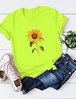 cheap -Women's T-shirt Floral Flower Sunflower Round Neck Tops 100% Cotton Basic Basic Top White Black Blue