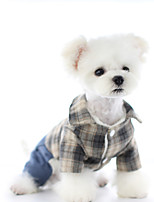 cheap -Dog Coat Jumpsuit Plaid / Check Casual / Daily Cute Casual / Daily Winter Dog Clothes Breathable Yellow Blue Costume Cotton Polyster XS S M L XL