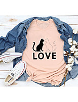cheap -Women's T-shirt Graphic Prints Letter Print Round Neck Tops Slim 100% Cotton Basic Basic Top Black Red Fuchsia