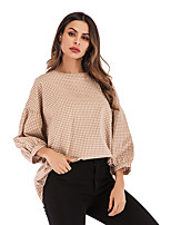 cheap -Women's Blouse Shirt Plaid Check Long Sleeve Round Neck Tops Puff Sleeve Basic Basic Top Red Beige