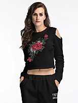 cheap -Women's Daily Pullover Sweatshirt Cropped Sweatshirt Floral Basic Hoodies Sweatshirts  Loose Black