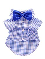 cheap -casual plaid dog shirt western dog t-shirt dog clothes + dog wedding bow, blue