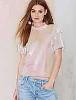 cheap -Women's T-shirt Tie Dye Print Round Neck Tops Basic Basic Top Blushing Pink