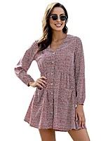 cheap -Women's Shift Dress Short Mini Dress - Long Sleeve Print Ruched Print Fall V Neck Casual Loose 2020 Black Blue Red S M L XL