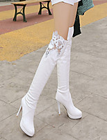 cheap -Women's Boots Stiletto Heel Round Toe Sexy Daily Lace Solid Colored PU Over The Knee Boots White / Black