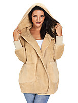 cheap -Women's Fall & Winter Teddy Coat Regular Solid Colored Daily Basic White Black Blue S M L