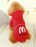 cheap -Dog Coat Hoodie Letter & Number Casual / Daily Cute Casual / Daily Winter Dog Clothes Warm Red Beige Costume Polyster XS S M L XL