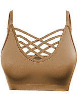 cheap -6662 womens seamless bustier cami crop tank top cage crisscross cutout sports bra bralette no pad black sm