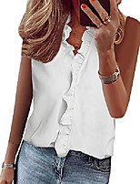 cheap -womens casual v neck blouse tops frilled ruffles solid sleeveless tanks & #40;large, x-white& #41;