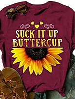 cheap -sunflower graphic tees women short sleeve round neck summer casual t shirt tops & #40;red,large& #41;