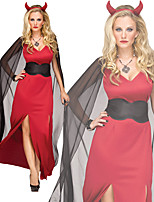 cheap -Devil Dress Cosplay Costume Outfits Adults' Women's Cosplay Halloween Halloween Festival / Holiday Tulle Polyester Red Women's Easy Carnival Costumes / Headpiece / Belt / Cloak / Headpiece / Belt