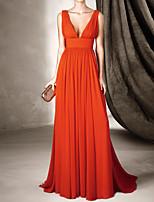 cheap -A-Line Beautiful Back Sexy Wedding Guest Formal Evening Dress V Neck Sleeveless Sweep / Brush Train Chiffon with Pleats 2020