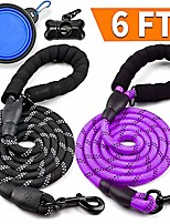 cheap -2 pack dog leash 6 ft thick durable nylon rope - comfortable padded handle - highly reflective threads - dog leashes for medium and large dogs