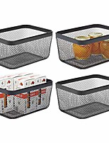 cheap -farmhouse decor metal wire food organizer storage bin basket for kitchen cabinets, pantry, bathroom, laundry room, closets, garage, 4 pack - black