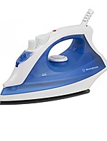 cheap -professional steam iron with 9.5 ounce water tank, 1200 watts, ceramic soleplate, white with blue accents