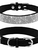 cheap -rhinestone dog collar, cute dazzling sparkling soft suede leather dog cat rhinestone collar crystal diamond pet dog puppy collar(hot pink,xxs)
