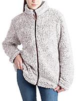 cheap -women's long sleeve fuzzy frosty pile tipped shearling lapel full-zip sherpa fleece sweatshirt pullover coat jacket with pockets(full-zip brown,xxxl)