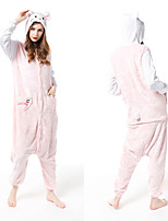 cheap -Adults' Kigurumi Pajamas Cat Onesie Pajamas Flannelette Dusty Rose Cosplay For Men and Women Animal Sleepwear Cartoon Festival / Holiday Costumes