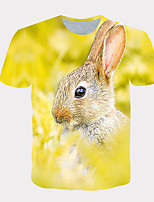 cheap -Men's Daily T-shirt Graphic Print Short Sleeve Tops Streetwear Exaggerated Round Neck Yellow