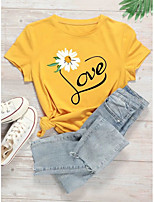 cheap -Women's Shirt Heart Graphic Prints Letter Print Round Neck Tops 100% Cotton Basic Basic Top Yellow Blushing Pink Wine