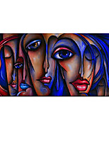 cheap -100% Hand painted Wall Art Face Oil Painting Francoise Style Color on Canvas Abstract Canvas Paintings Picture For Living Room Rolled Without Frame