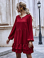 cheap -Women's A-Line Dress Knee Length Dress - Long Sleeve Solid Color Ruffle Ruched Patchwork Fall Casual Going out Puff Sleeve Loose 2020 Wine S M L XL