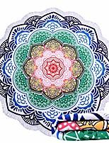 cheap -beach towel blanket large round flower lotus shape mandala tassels microfiber picnic free throws yoga tablecloth mat 60 inch & #40;red yellow& #41;